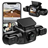 Dual Dash Cam Built in WiFi 3 Cam 1080P Car Camera Front and Rear HD Angle Lens Recording Control IR Night Vision 24hr Motion Detection G-Sensor, Mobile App, Support 128GB SD Card Max