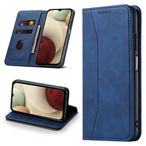 Leaisan Handyhülle für Samsung Galaxy A12 Hülle Premium Leder Flip Klappbare Stoßfeste Magnetische [Standfunktion] [Kartenfächern] Schutzhülle für Samsung Galaxy A12 Tasche - Blau