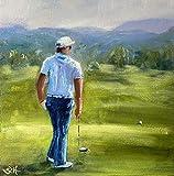 Bild Golf Golfspieler Golfspiel modern Malerei Kunst Original Gemälde 20x20 cm
