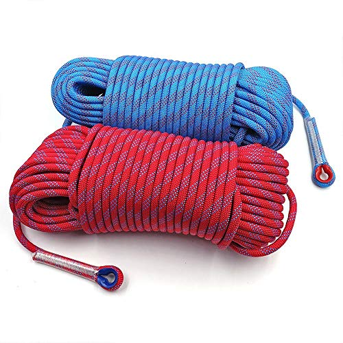 LLZY Nylon-Seil Static Klettern Seil 10mm Baum-Wand-Climbing Equipment Gang weiches Nylonseil Outdoor-Survival-Feuer-Entweichen Rettung Sicherheitsseil 10m 20m 30m (Farbe : Red 10m)
