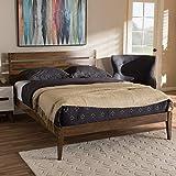 Baxton Studio Elmdon Mid-Century Modern Solid Walnut Wood Slatted Headboard Style Queen Size Platform Bed Mid-Century/Walnut Brown/Rubber Wood/Hardwood/LVL/Poplar/