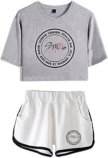FEIRAN Stray Kids Boy Band Short Shorts de Manga Corta para Mujer y niña Top + Shhort Set B Grey + White XS