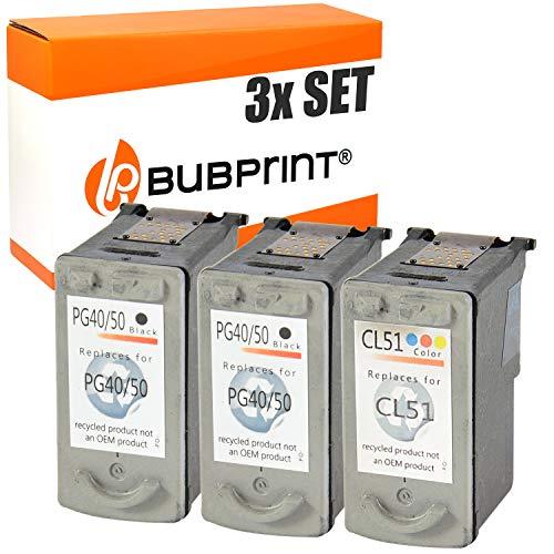 3 Bubprint Druckerpatronen kompatibel für Canon PG-50 CL-51 für Pixma IP2200 MP150 MP160 MP170 MP180 MP450 MP450X MP460 MX300 MX310 Multipack Schwarz und Farbig