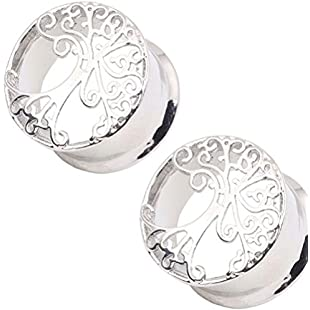RichBest 1 Pair Tree of Life Copper Silver Ear Plug Taper Kit Gauges Expander Stretcher (14)