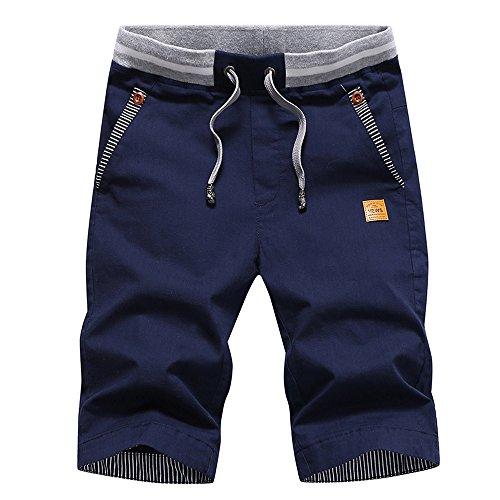 Tansozer Pantaloncini Uomo Shorts Uomo Estivi Casual Cotone Pantaloncini con Coulisse Tasche in Vita Elasticizzata Estivi Pantaloncini Blu Navy L