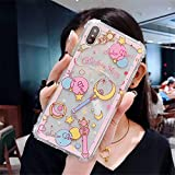 for iPhone Xs Max Case Cover, Japan Anime Cartoon Sailor Moon Case Shockproof Air Cushion Silicone Soft Phone Case Back Cover for iPhone Xs Max XR 6S 7 8 Plus (Moon, for iPhone Xs Max)