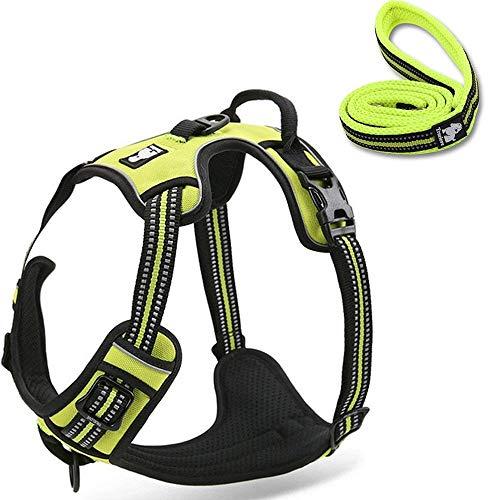 Navinio permanent instelbaar 3M strepen reflecterend hondenharnas buiten huisdier hondenvest harness met handvat borstband voor grote/middele/kleine honden, Medium, Green set