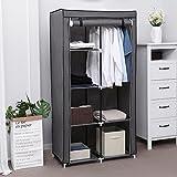 SONGMICS Stoffschrank, Kleiderschrank, 2 Kleiderstangen, 6 Ablagen, Verschiedene Aufbaumöglichkeiten, 88 x 45 x 170 cm, für Schlafzimmer, Ankleidezimmer, grau RYG84G - 2