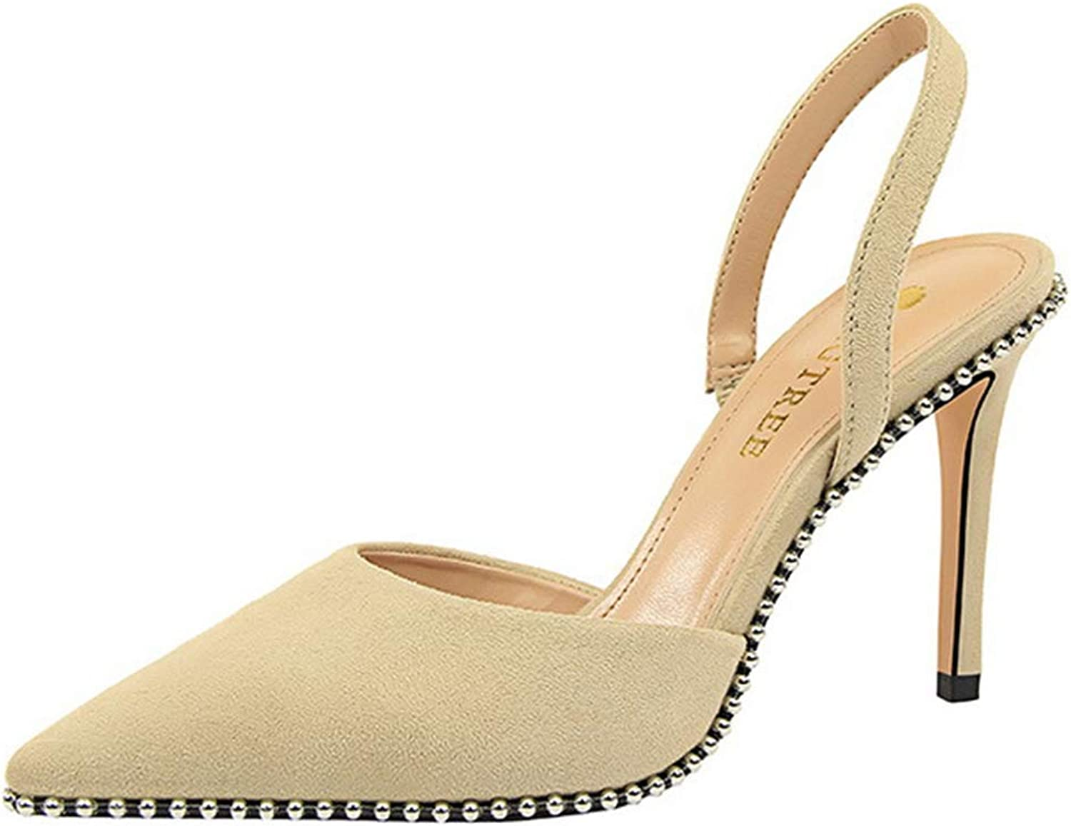 Drew Toby Women High Heels Sexy Fashion Suede Shallow Mouth Pointed Toe Sandals