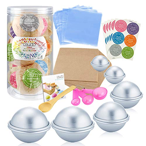 Caydo 176 Pieces DIY Bath Bomb Molds Set with Instructions Including 12 Pieces 3 Size DIY Metal Bath Bomb Molds, Spoons, Wrapping Papers, Shrink Wrap Bags for Crafting Your Own Fizzies (Easy Bath Bomb Recipe With Citric Acid)