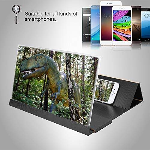 ASHATA 14 Pulgadas HD Lupa de Video de Teléfono Móvil, 3D Universal Plegable Portátil Soporte de Amplificador de Pantalla de Teléfono para Interior,Acampada,Viaje,etc(Negro)