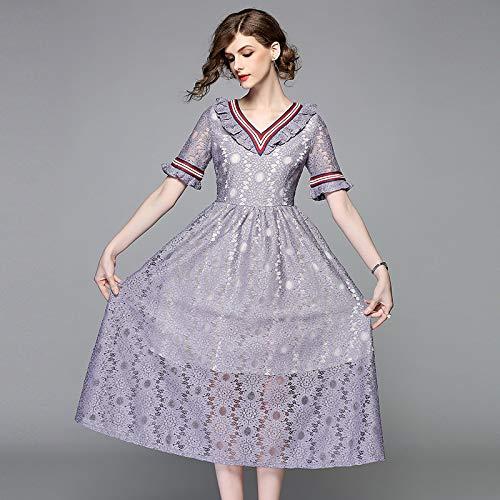 QUNLIANYI avondjurk abibaljurk zomer dames vintage violet kanten jurk elegante V-hals uitgeholde kanten jurk korte mouwen slanke lange party A lijn jurk