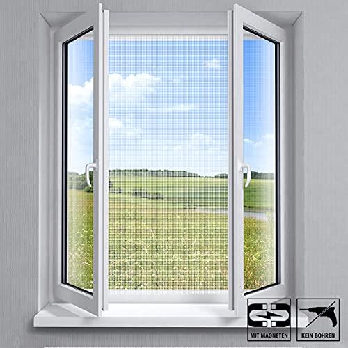 VABIONO Fliegengitter mit Magnet-Befestigung für Fenster • Moskitonetz Mückenschutz Insektenschutz (weiß 150x130cm)