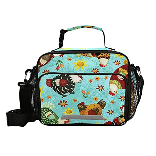 Rooster Chicken Sunflower Lunch Bag with Shoulder Strap for Women Men Turquoise Blue Flowers Insulated Lunch Box Tote Bags Water-resistant Cooler Bag for Office Work Picnic Beach(11x9x5 Inch)
