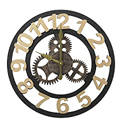 Decent Home 3D Gear Wall Clock - 19.5 Inch Non Ticking Retro Rustic Clocks Wooden Decoration for Home Gold Color