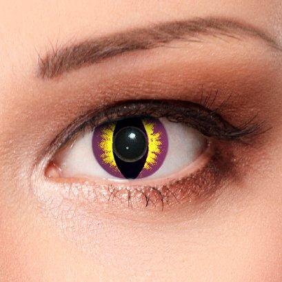 Lilane farbige Katzen Kontaktlinsen für Halloween Karneval Katzenaugen Farblinsen in violett Design: Purplestar Cateye