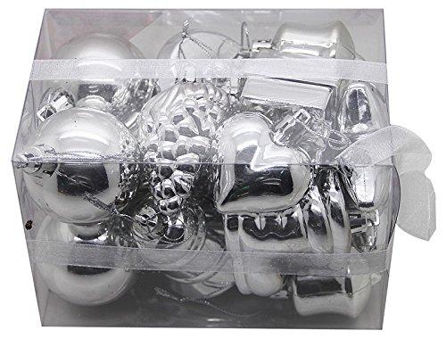Boîte de 20 Décorations de Noël en Plastique Couleur:argent