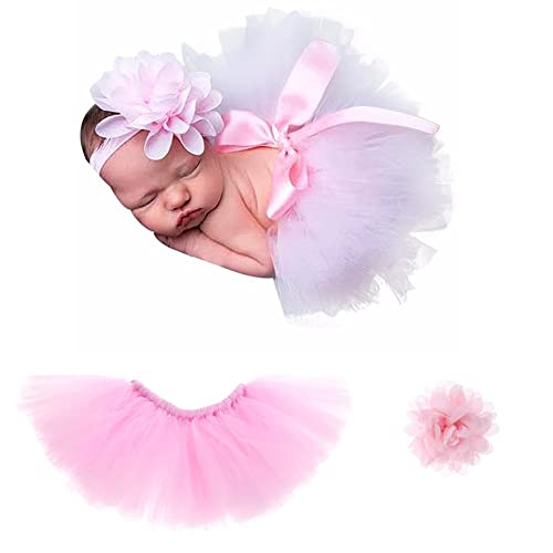 9be45ba245157 Pink Newborn Photography Props Costume Infant Baby Girls Cute Princess Skirt  and Headband Outfits Gift Set
