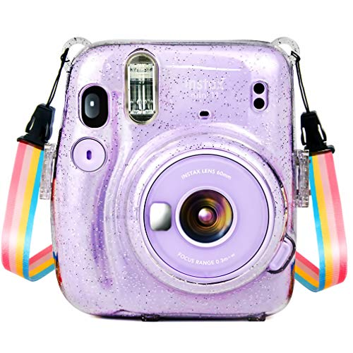 Wolven Crystal Camera Case w Adjustable Rainbow Shoulder Strap Compatible with Fujifilm Mini 11 Camera, Crystal
