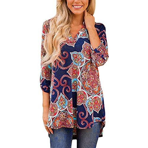 Ansenesna Shirt Damen Herbst Lang V Ausschnitt Bunt Bedruckt Locker Elegant Bluse Tops Mädchen Langarm Vintage (Marineblau, XXL)