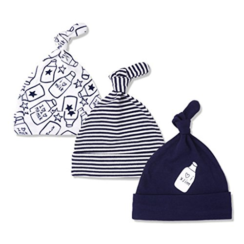 CuteOn 3 Paquete Bebé Beanie Nudo Sombrero Recién Nacido Chicos Chicas Algodón Ajustable Gorra para Bebé 2-8 Meses