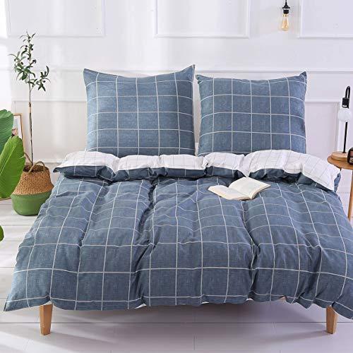 Unimall Bettwäsche 155x220cm aus Baumwolle für Sommer Renforce Bettbezug mit Reißverschluss Kariert Muster in Grau & Weiß mit 2 Kissenbezüge 80x80cm