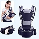 Homejuan 0-48M Ergonomic Baby Carrier Infant Baby Hipseat Carrier Front Facing Ergonomic Kangaroo Baby Wrap Sling for Baby Travelr Cuddle Up Ergonomic Hoodie Carrier, Grey,1