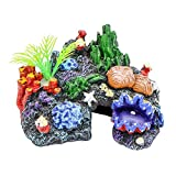 conveniente Tóxico for el Hogar del ornamento del acuario Coral Artificial Resina marina paisaje depósito de alga marina Shell musgo Piedra Hábitat for no Fish durable ( Color : Multi-colored )
