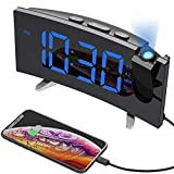 Alarm Clocks, (New Version)Pictek Projection Alarm Clock with FM Radio, 5-inch Dimmable Screen