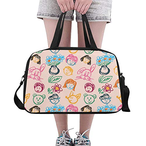 ZHANGhome Large Travel Duffel Creative Cute Cartoon Draw Character Yoga Gym Totes Fitness Handbags Duffel Bags Shoe Pouch For Sport Luggage Womens Outdoor Yoga Sports Bag