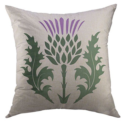 Mugod Pillow Cover Green Blossom Thistle Onopordum Acanthium Scottish White Purple Branch Britain Home Decorative Square Throw Pillow Cushion Cover 16x16 Inch Pillowcase
