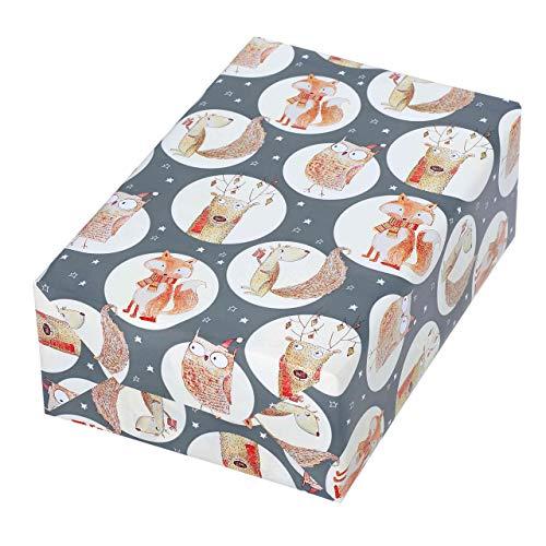 Rotolo di carta da regalo 50 cm x 50 m, motivo Sven, divertenti animali della foresta brillano dal fondo grigio opaco. Per Natale, compleanno, bambini.