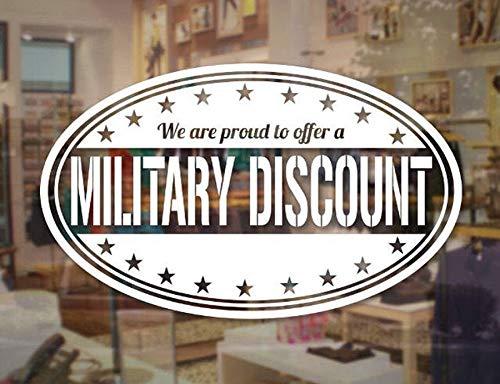 Crjzty Sconto Militare Adesivo in Vetro Veterano Decal Store Business Sign Decal per vetrina Negozio Adesivo Impermeabile murale 57X34cm