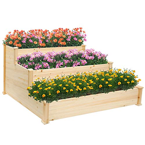 Raised Garden Bed Kit for Vegetables Outdoor Wood 3 Tiered Planter Box for Flower,Herb
