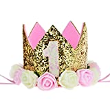 Aiernuo Baby Princess Tiara Crown Kids First Birthday Hat Sparkle Gold Flower Style (1 Style)