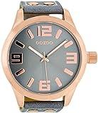 Oozoo XXL Armbanduhr Basic Line mit Lederband 52 MM Rose/Blaugrau/Blaugrau C1104