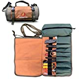 ROARING FIRE Armadillo Mini Water Resistant Tool Roll Organizer, Wrench Organizer & Tool Pouch, Roll Up Tool Bag for Electrician, HVAC, Plumber, Geargeekers, Carpenter or Mechanic (Brown)