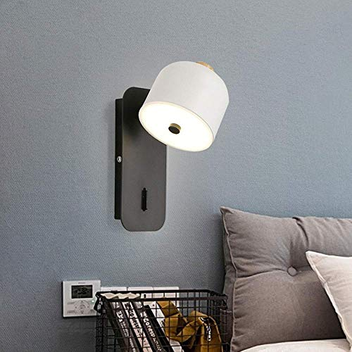 LONGWDS Lámpara de pared para sala de estar lámpara de noche moderna contratada dormitorio lámpara de pared interruptor creativo giratorio LED lámpara de pared 22 * 9.5 cm de alto gusto