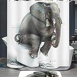 Ommda Duschvorhang Textil Wasserdicht Tier Digitaldruck Duschvorhang Anti-schimmel Waschbar mit 12 Duschvorhang Ring (Keine Matten) Elefant 180x200cm