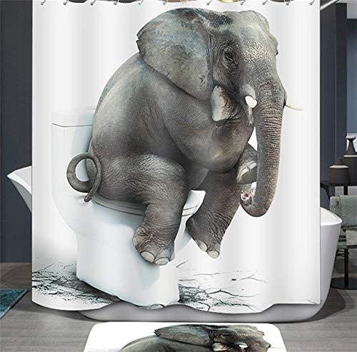 Ommda Duschvorhang Textil Wasserdicht Tier Digitaldruck Duschvorhang Anti-schimmel Waschbar mit 12 Duschvorhang Ring (Keine Matten) Elefant 80x180cm