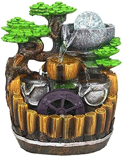 XHCP Fuente de Escritorio Creativa Fuente de rocalla de Resina Decorada con Tres Capas de cascadas y Cuentas giratorias