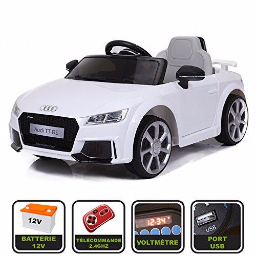 Cristom Voiture de Sport électrique 12V pour Enfant Audi TT RS Télécommande 2.4Ghz- Slot USB et Prise MP3 - Licence Audi (Blanc)