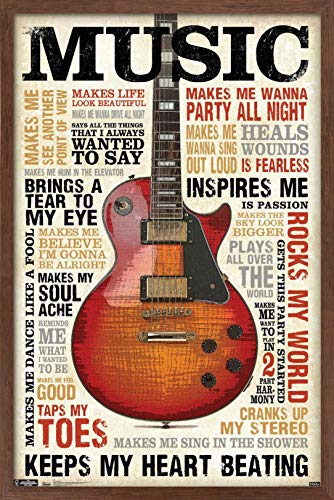 Trends International Music Inspires Me Wall Poster, 22.375 in x 34 in, Mahogany Framed Version