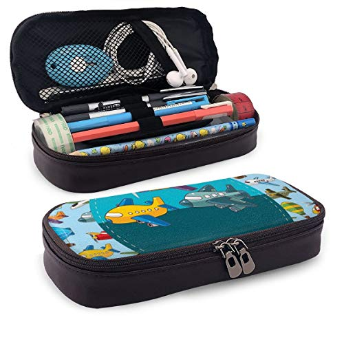 Pencil Case Big Capacity Storage Holder Desk Pen Pencil Marker Stationery Organizer Pencil Pouch with Zipper,Colorful Retro Style Various Cartoon Airplanes Air Balloons Zeppelins Boys Kids