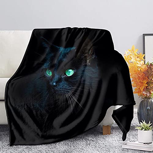 Manta Polar Gato Animal Negro Puro Lana Super Suave Manta Caliente de Tejido Manta Sofa para Interior,Camping,sofá y sillón reclinable 70 cm x 100 cm