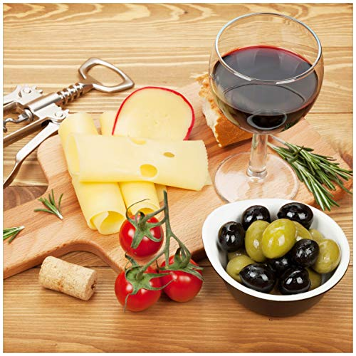 Wallario Möbeldesign/Aufkleber, geeignet für IKEA Lack Tisch - Genuss am Abend - Rotwein, Käseplatte, Oliven und Tomaten in 55 x 55 cm