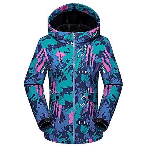 KINDOYO Femmes Encapuchonné Softshell - Randonnée De Plein air Imperméable Camouflage Homme Veste de Ski Manteau,style3-femmes,EU XL=Tag 2XL