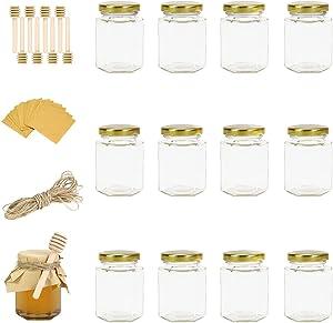 Rormket 12 Pack 4oz Glass Hexagon Honey Jars Golden Lids, Extra Wooden Honey Dipper Sticks, Tag String, Square kraft paper, Jam, Wedding Favors, Baby Food, Candle, Crafts Glasses Canning Jar (Golden)