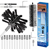 Morinoli 24ft Dryer Vent Cleaning Kit, Chrome Button Locking System, Extends Up to 24 Feet, Lint Remove, Dryer Duct Cleaning Kit, Dryer Vent Cleaner Kit with Bonus Drill Attachment, Lint Trap Brush