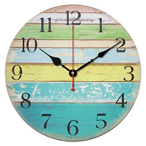 Gfhrisyty Reloj de Pared Redondo Grande, Estilo de CabaaA de Playa Elegante Desgastado NáUtico, Reloj de Pared Silencioso Que No Hace Tictac, 30 Cm